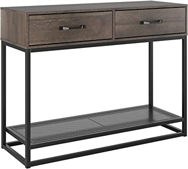 HOMECHO Console Table, Sofa Table, Industrial Entryway Table with 2 Drawers and Storage Shelf, for Entryway Hallway Living Ro