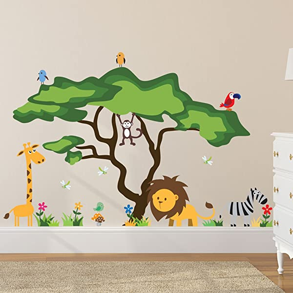 Timber Artbox Cute Animals In The Jungle Wall Decals Giant Bright Stickers To Put A Smile On Kids Toddlers