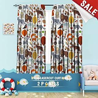 Custom Made Curtain, Animal Autumn Background Bear bee Bird Boundless Bug Character Clouds 63 x 63 inch Children's Small Curtains