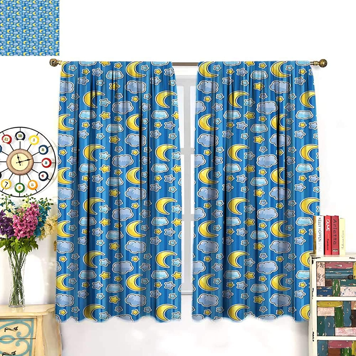 WinfreyDecor Baby Decor Curtains by Abstract Skyline with Stars Clouds and Crescent Moon greenical Striped Backdrop DoodleBlackout curtainbluee Yellow. W63 x L45