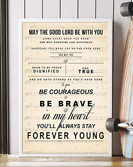 Bob Dylan lyrics Parenthood song FOREVER YOUNG large sign song lyric sign Rod Stewart lyrics farmhouse style distressed