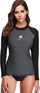 Attraco Womens Color Block Rash Guard Long Sleeve Athletic Tops UPF 50+ Swimsuit