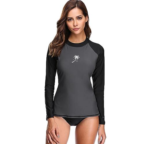 b2b8bcbc39 ATTRACO Womens Long Sleeve Rash Vest Swim Shirts Rashguards Tops Surf  Swimsuit
