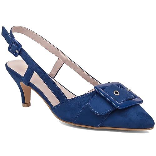 9c35f0a59375 MaxMuxun Womens Classic Slingback Buckle Pumps Court Shoes