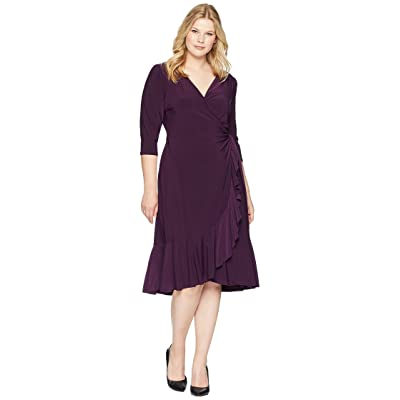 Kiyonna Whimsy Wrap Dress (Plum Passion) Women