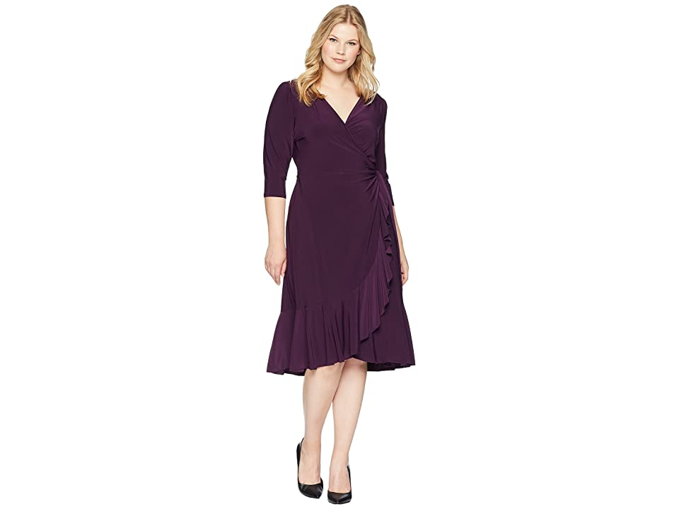 Kiyonna Whimsy Wrap Dress (Plum Passion) Women