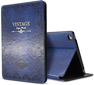 iPad Mini 1 2 3 Case Like a Book Cover, Miniko(TM) iPad Mini 1 2 3 Case Modern Vintage Premium PU Leather Smart Retro Book Cover with Magnet Design Flip Case with Auto Sleep/Wake up Dark Blue