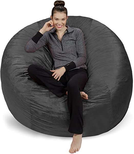 Sofa Sack Plush Ultra Soft Bean Bags Chairs For Kids Teens Adults Memory Foam Beanless Bag Chair With Microsuede Cover Foam Filled Furniture For Dorm Room Charcoal 6