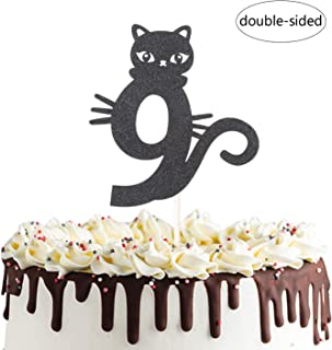 Number 9 Kitty Cat Cake Topper for Happy Ninth 9th Birthday,Baby Shower 9th Wedding Anniversary Party Decorations