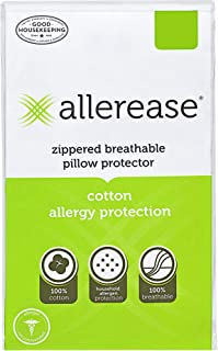 """AllerEase 100% Cotton Allergy Protection Pillow Protectors – Hypoallergenic, Zippered, Allergist Recommended, Prevent Collection of Dust Mites and Other Allergens, Standard Sized, 20"""" x 26"""" (Set of 4)"""