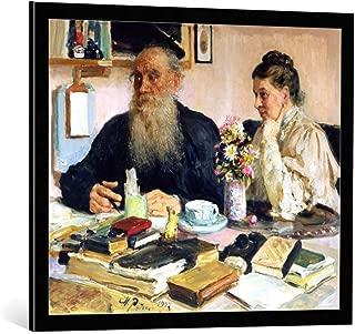 kunst für alle Framed Art Print: Ilya Efimovich Repin Leo Tolstoy with his Wife in Yasnaya Polyana 1907