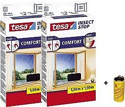 tesa Insect Stop Comfort Vliegengaas voor vloerdiepe ramen en insectenbescherming met zelfklevend klittenband in antraciet...