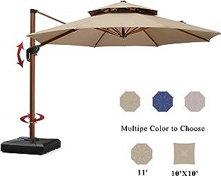 PURPLE LEAF 11 Feet Double Top Deluxe Sunbrella Wood Pattern Patio Umbrella Offset Hanging Umbrella Cantilever Umbrella Outdoor Market Umbrella Garden Umbrella, Heather Beige