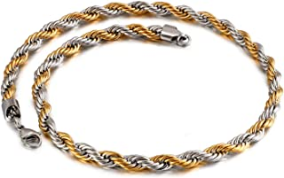 Stainless Steel Necklace for Men Twisted Rope Necklace Chain Silver/Gold
