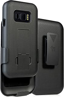 Case with Clip for Galaxy XCover FieldPro, Nakedcellphone [Black Tread] Kickstand Cover with [Rotating/Ratchet] Belt Hip H...