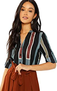 Women's Casual V Neck Button Up Long Sleeve Striped Blouse Work Shirt Tops