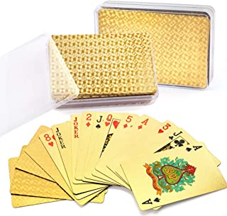 Cool 24K Gold Foil Playing Cards, 2 Decks of Cards with Plastic Cases, Waterproof, Plastic, Bridge Size, for Canasta, Poker Cards Games, Magic Props, Great Gifts, Certificate of Authenticity