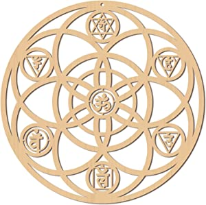 CREATCABIN 12inch Ohm Wooden Wall Art Crystal Grid Sacred Geometry Laser Cut Aum Wall Sculpture Hanging Decor Spiritual Symbol Flat Round for Housewarming Home Bedroom Office Yoga Studio Decoration