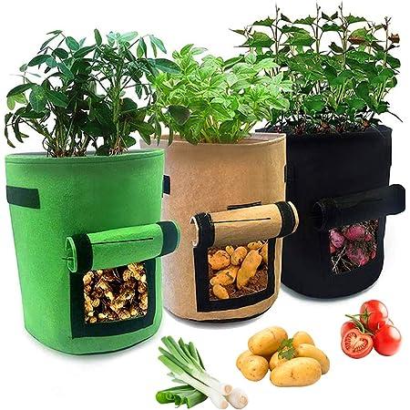 HUOHUOHUO Finestra Verdure Grow Bag,Piantapatate Sacchi di Tessuto Non Tessuto,7 Gallon Contenitore Patate,Sacchetto per Piantare Patate,Piante da Coltivazione Vasi in Tessuto,Grow Borse