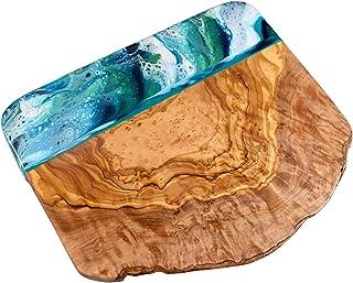 Tabla de quesos madera de olivo con resina verde azul 20 cm
