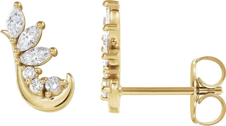 Solid 14K Yellow Gold 1/4 CTW Diamond Earring Climbers
