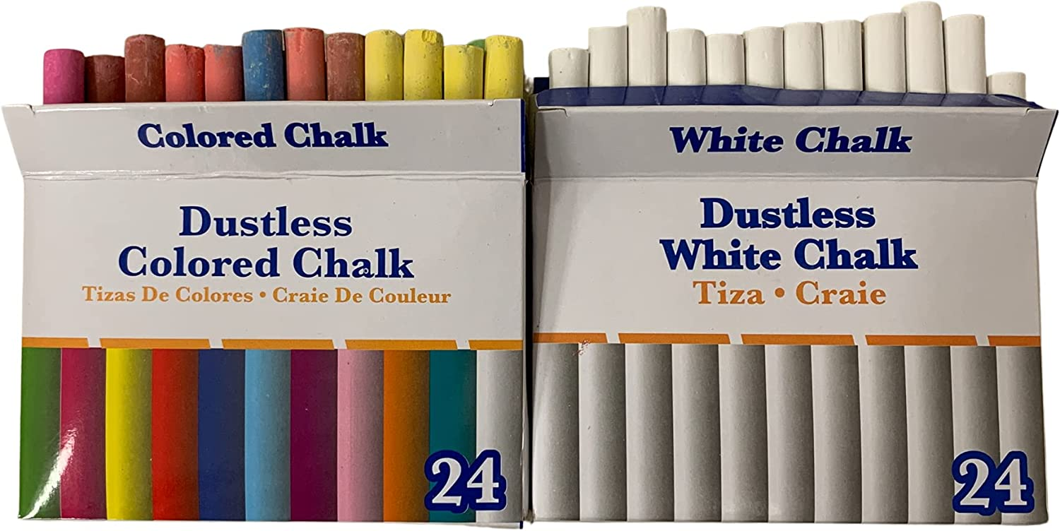 Popular standard White and Colored Dustless Chalk Non-Toxic 24 Color Special sale item box ct