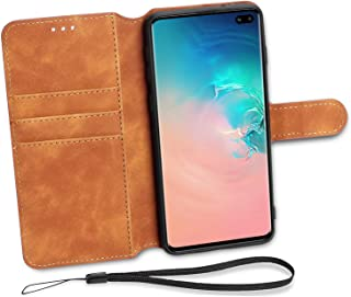 Aucaeo Wallet Case for Samsung Galaxy S10 Plus, 360 Full Body Extra Edge Protection Shockproof Drop Proof with ID Card Holder Kickstand Qi Compatible Flip Leather Cover for Samsung S10 Plus, Brown