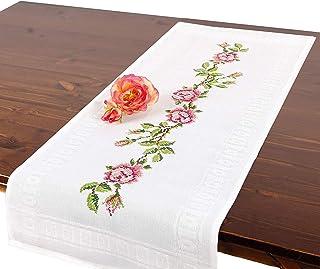 Kit de broderie ROSES, chemin de table, kit complet avec nappe pré-dessinée à broder, kit de broderie avec patron de brode...