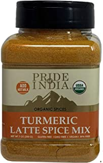 Sponsored Ad - Pride Of India - Organic Turmeric Latte Spice - 7oz (200gm) Sifting Jar - Vegan 6 Spice Blend - Instantly M...