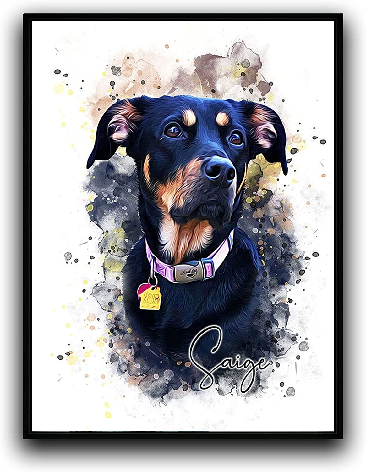 Custom Dog Cat Portrait Watercolor Painting SEAL limited product All items in the store Prints Framed Canvas