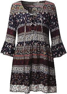 HODOD Women Plus Size Boho Floral Short Sleeve Strap Beach Party Maxi Mini Dress