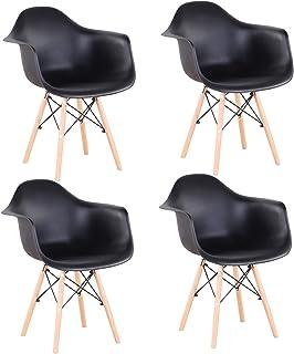 BenyLed Lot de 4 Chaise de Salle à Manger, Fauteuil de Chaise Latérale Design Rétro avec Jambe de Bois de Hêtre Massif pou...