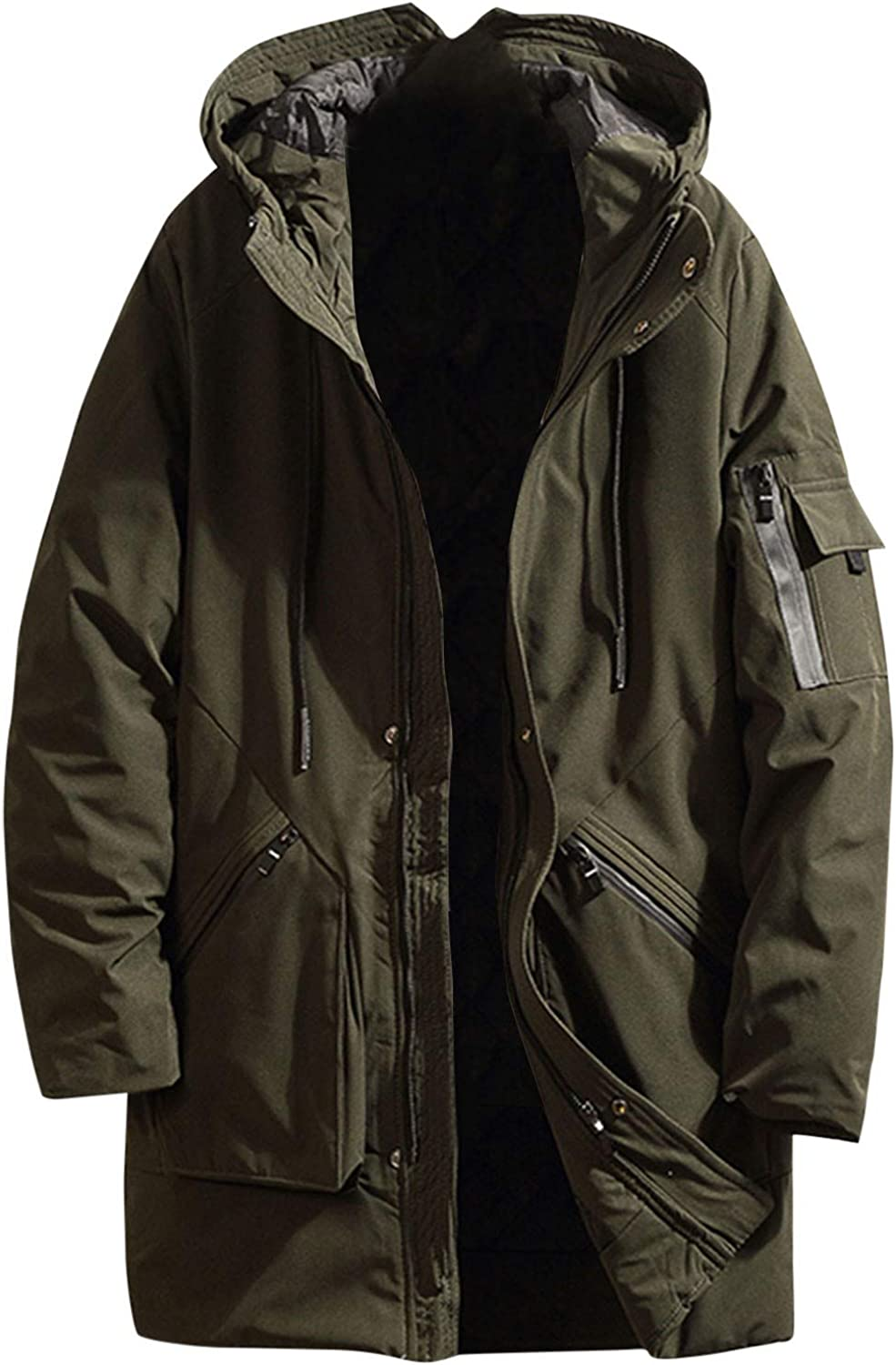 Men's Coat Winter Mid Length Pure Color Full Zipper Long Sleeve Outdoor Thickened Hoodie Cotton Padded Jacket