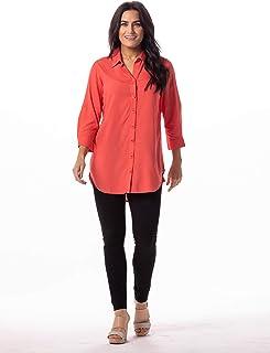 Women's Roll Tab Sleeve Collared Button Down Tunic Shirt