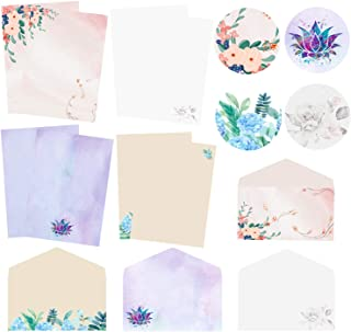 Stationary Writing Paper with Envelopes, Double Sided Printing Floral Letter Writing Paper, 32 Stationary Papers+16 Envelo...