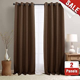 jinchan 2 Panel Blackout Curtains for Bedroom Brown 95 inch Linen Textured Curtains Room Darkening Window Curtains Grommet Blackout Drapes for Living Room