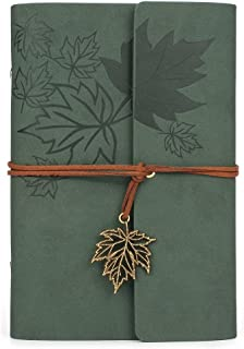 Leather Writing Journal Notebook, MALEDEN Classic Spiral Bound Notebook Refillable Diary Sketchbook Gifts with Unlined Travel Journals to Write in for Girls and Boys