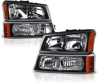 VIPMOTOZ Black Housing Headlight & Front Turn Signal Bumper Lamp Assembly Set For 2003-2006 Chevy Avalanche & Silverado 1500 2500 3500, Driver & Passenger Side