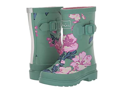 Joules Kids Printed Welly Rain Boot (Toddler/Little Kid/Big Kid) (Green Floral) Girls Shoes