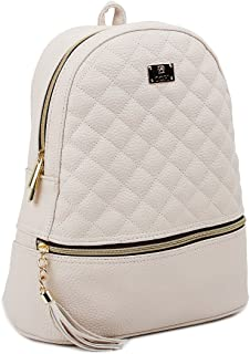 Women's Simple Design Fashion Quilted Casual Backpacks Ivory