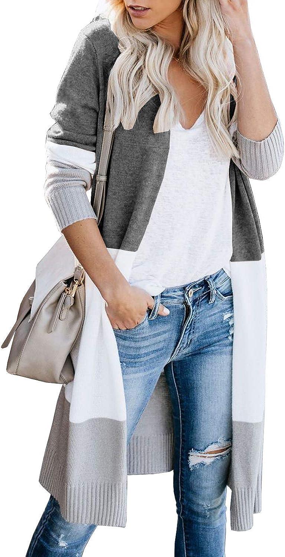 Lovaru Womens Boho Open Front Sleeve Elegant Long Colorblock Lo Cardigan overseas
