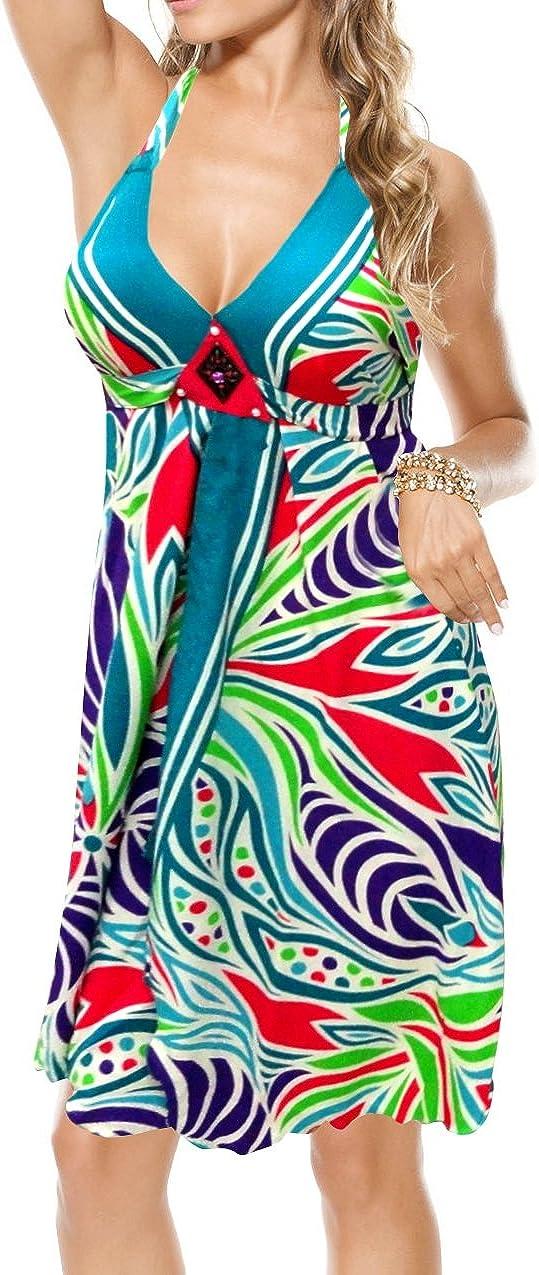 LA LEELA Women's Plus Size Swimwear Swimsuit Cover-Ups Dress US 8-16W Multi_S580