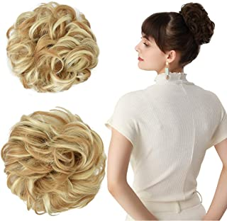 REECHO Women's Thick 2PCS Hair Scrunchies Made of Hair Curly Wavy Updo Hair Bun Extensions Messy Hairpieces