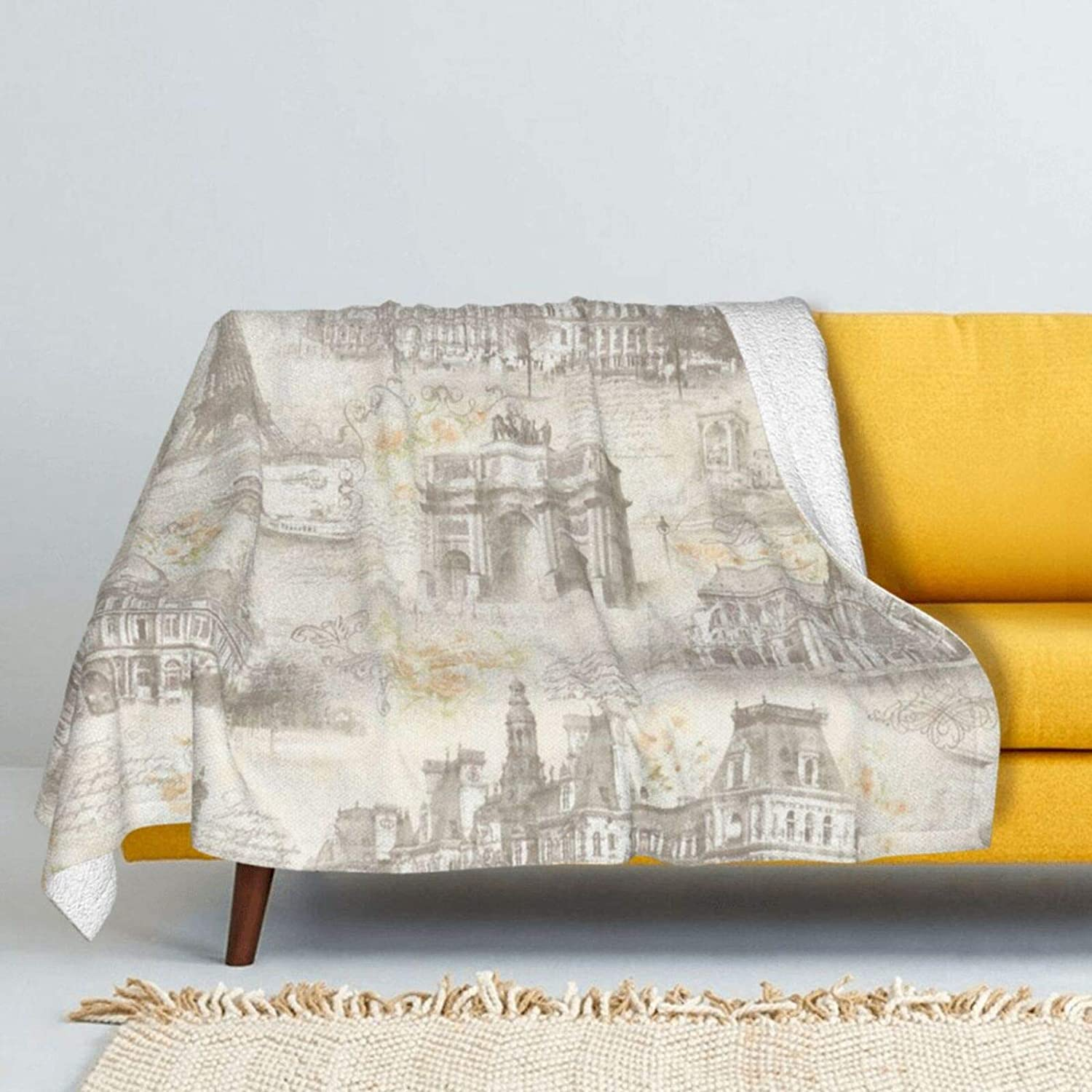 French Max 80% OFF Architectural Painting Lamb Attention brand Wool Blanket Super Soft Throw