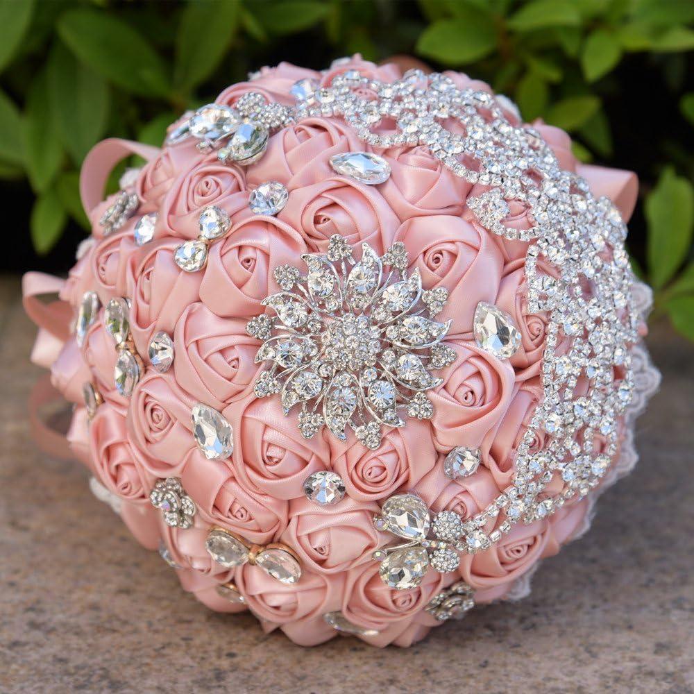 Silk Wedding Flowers Pink Blush Brooch Bouquet Made to Order
