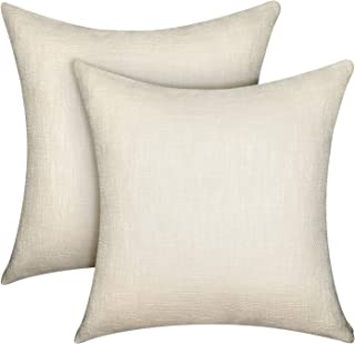 Lirex 2-Pack Linen Throw Pillow Covers, 20 x 20 Inches Flax Linen Decorative Soft Solid Color Square Linen Pillow Cover, Antistatic and Breathable