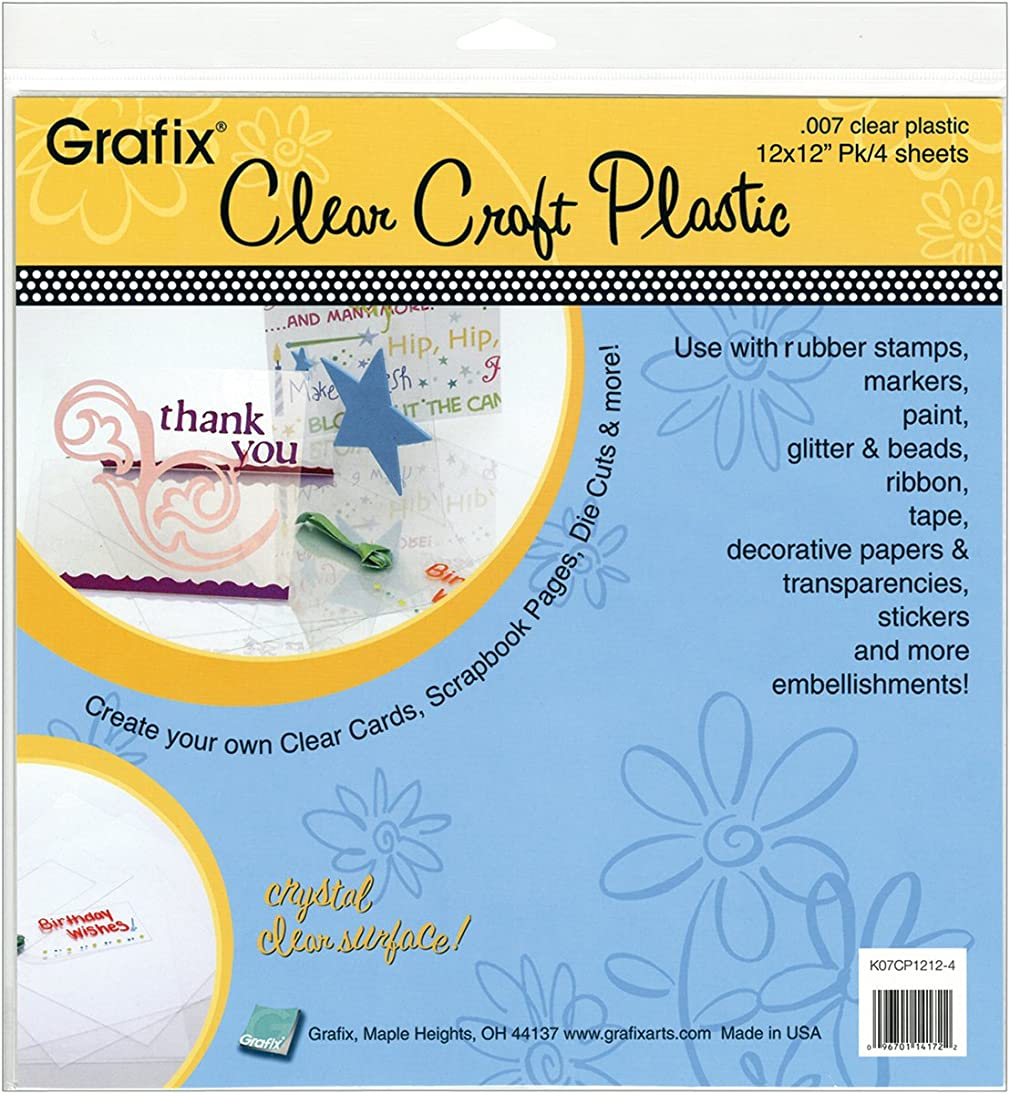 Grafix Clear Craft Plastic .007 Thickness 12-Inch by 12-Inch, Pack of 4