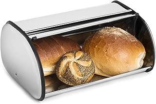 Greenco Stainless Steel Bread Bin Storage Box, Roll up Lid (Stainless steel)
