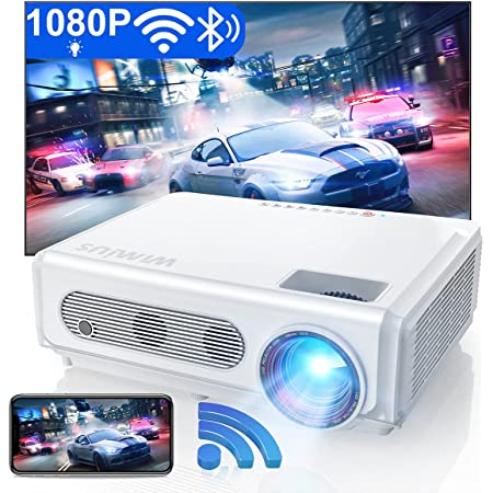 """5G WiFi Bluetooth Projector Support 4K, WiMiUS S6 Native 1080P HD Home & Outdoor Wireless Phone Projector, Zoom 50% & Keystone & 300"""", Led Movie Projector for Fire Stick, HDMI, USB,TV Box, Laptop"""