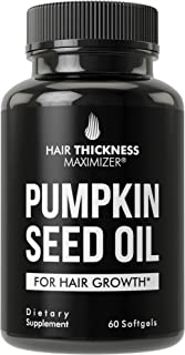 Pumpkin Seed Oil Softgels For Hair Growth. For Men and Women. Cold Pressed, Extra Virgin, Non-GMO, Gluten Free, Hair Loss,...